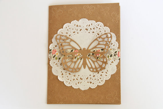 Mariage - Wedding Thank You Card Set with Doily and Butterfly