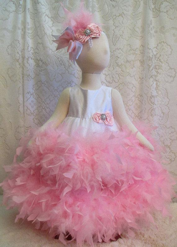 زفاف - Size 18-24 mo Breathtaking 2 Tier White Shantung & Pink Feather Dress with Matching Headband, Pageant Dress, Flower Girl Dress Ready to Ship