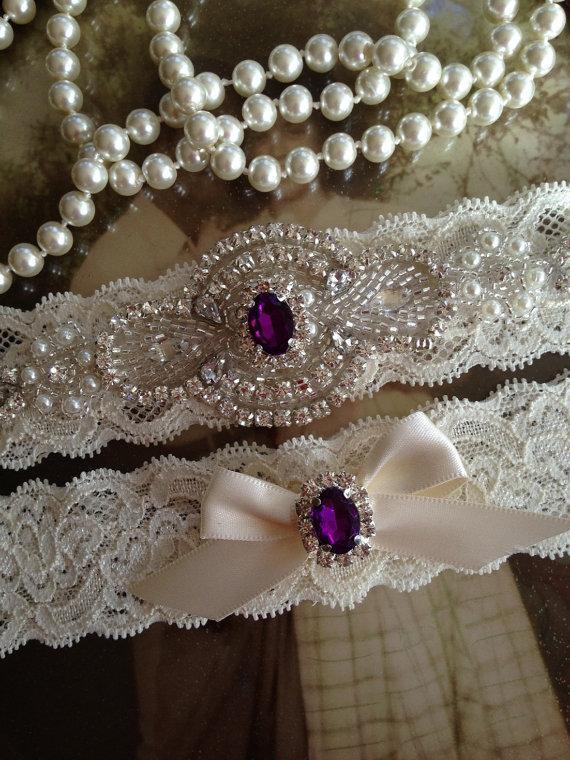 زفاف - SALE-Wedding Garter-Garter-Bridal garter-Ivory Lace-Rhinestone-Applique-Red-Emerald-Green-Blue-Pink-Purple-belt-Vintage Garter-Stretch lace