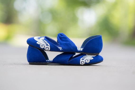 زفاف - Blue Wedding Flats - Wedding Ballet Flats, Cobalt Blue Wedding Shoes, Cobalt Flats, Blue Flats, Bridal Flats with Ivory Lace. US Size 8