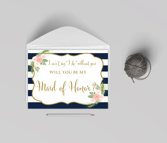Wedding - Will you my maid of honor card printable, Card to ask maid of honor,striped navy card, The Shirley collection