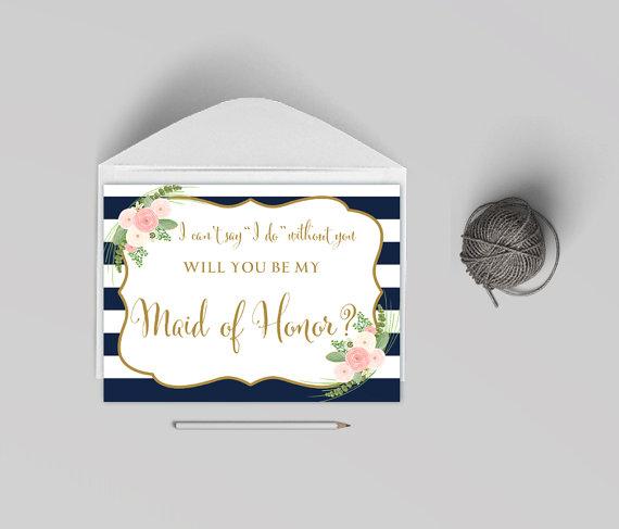 زفاف - Will you my maid of honor card printable, Card to ask maid of honor,striped navy card, The Shirley collection