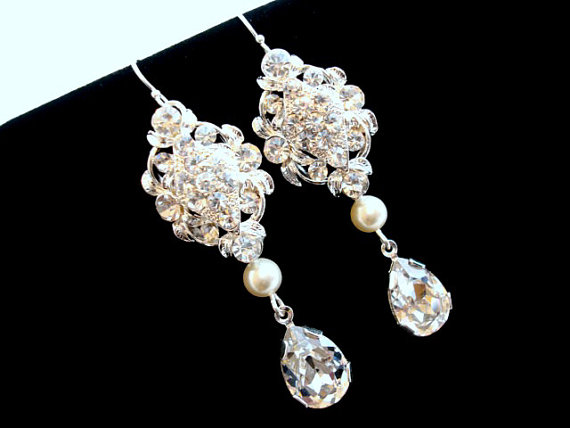 زفاف - Rhinestone Wedding earrings, Crystal bridal earrings, Long Pearl earrings, wedding jewelry, bridesmaid earrings, Swarovski crystal earrings