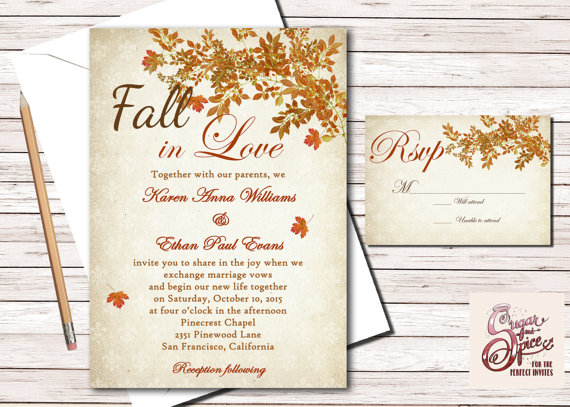 Wedding - Rustic Fall Wedding Invitation, Fall In Love Leaves Wedding Invitation