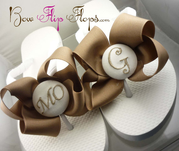 fa59c4c8b135b9 Bridesmaid Flip Flops Wedding Bow monogrammed personalized initial bridal  party flower girl sandals name pedicure gift beach shoes monogram