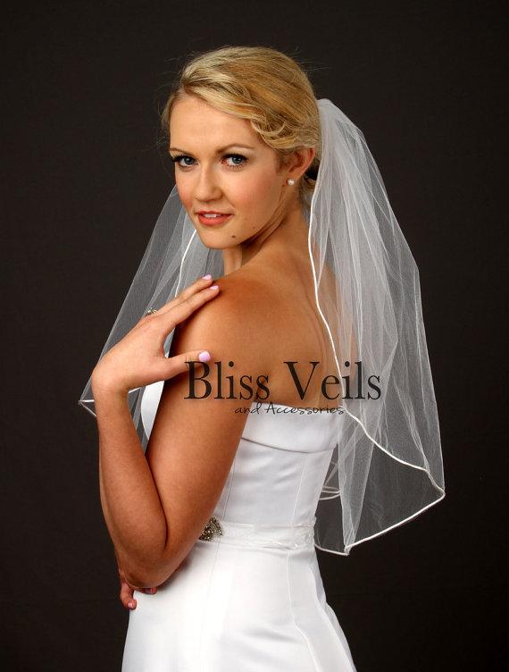 Mariage - Satin Rattail Edge Wedding Veil, Elbow Length Veil, 1 Layer Veil
