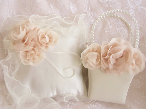 Hochzeit - Ruffles and Roses Basket and Pillow Flower Girl Basket Blush Rose Blossom Ivory Ring Bearer Pillow, Flower Girl Basket Wedding Pillow
