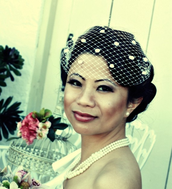 Mariage - 13 inch Venetian Bandeau Birdcage Veil with Chenille Dots