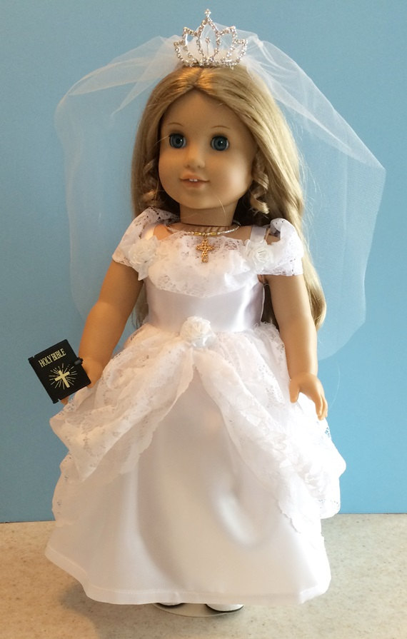 American Girl Doll Clothes Priness First Communion Dress Set