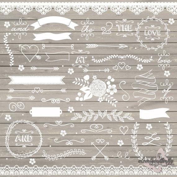Wedding - Wedding clipart, rustic clipart, shabby chic wedding, lace clipart, flower, arrows, laurel clipart, INSTANT DOWNLOAD