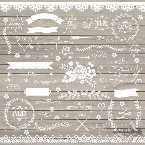 زفاف - Wedding clipart, rustic clipart, shabby chic wedding, lace clipart, flower, arrows, laurel clipart, INSTANT DOWNLOAD