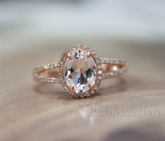 14K Rose Gold Ring Halo 38ct Diamond And 79mm Fancy Natural