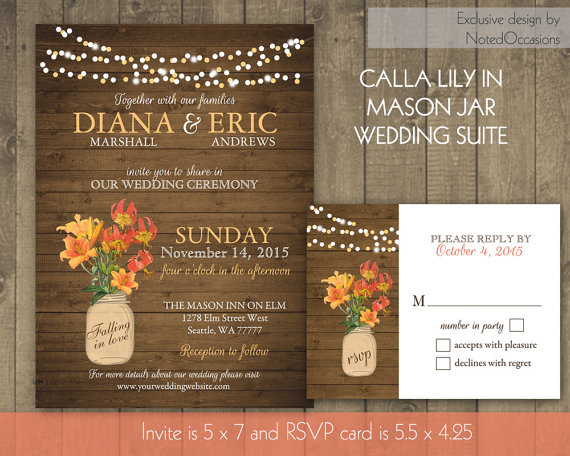 زفاف - Rustic Floral Wood Mason Jar Wedding Invitations and RSVP