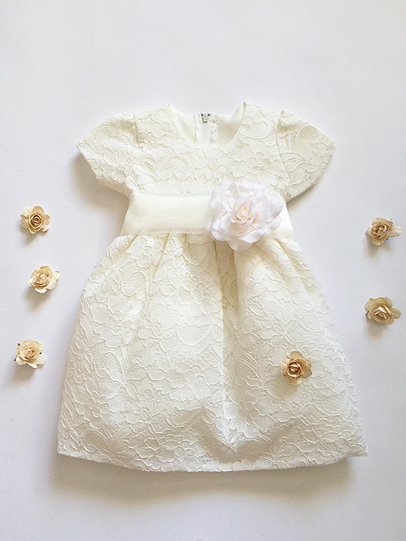 Wedding - New baby girls kids ivory lace spring, summer dress, baby easter dress, ivory flower girls dress, 6, 9months, 12months, 18months