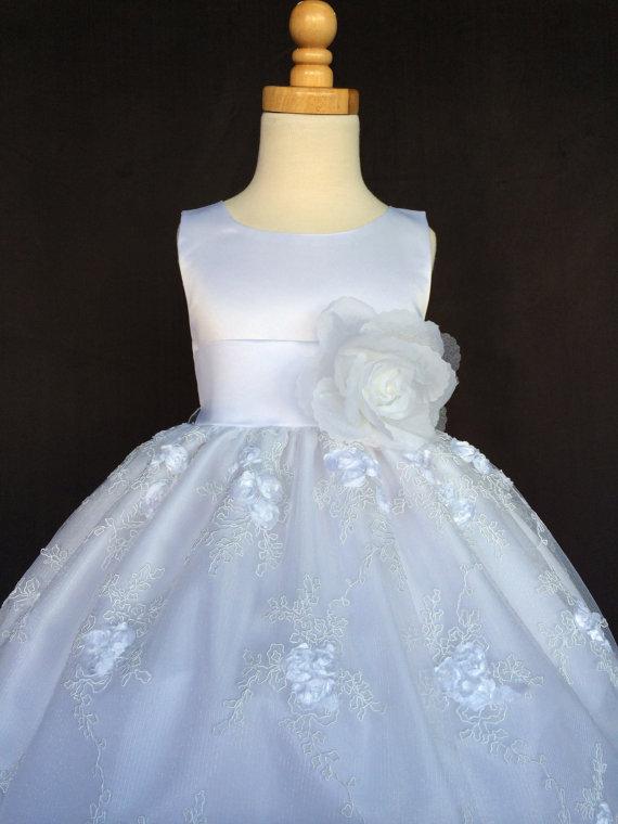 زفاف - White Wedding Bridal Bridesmaids Organza Embroidered Easter Toddler Kids Flower Girl Dress 6 12 18 24 Months 2 4 6 8 10 12