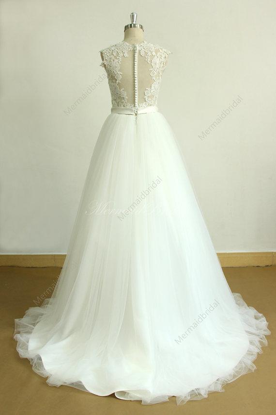 زفاف - Open back ivory A line romantic lace tulle wedding dress with deep V cutting