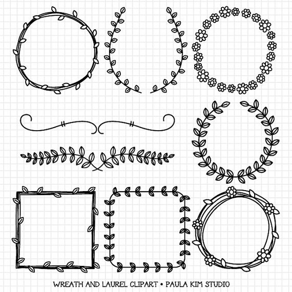 Wedding - Wreaths and Laurel Clipart Graphics, Borders and Frames for Wedding Invitations, Digital Download Images