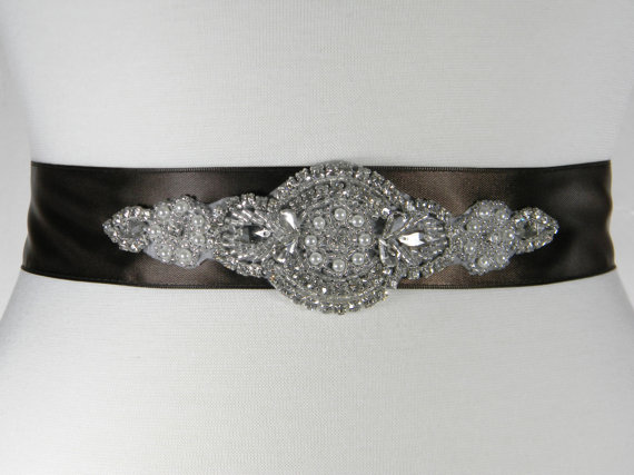 زفاف - Brown Bridal Belt - Bridal Sash - Wedding Belt - Pearl and Rhinestone Wedding Dress Belt - Chocolate Brown Satin Bridal Sash - BELLA