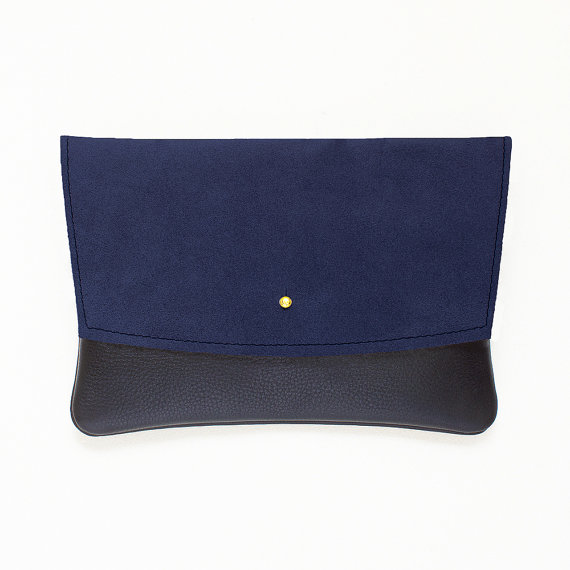 زفاف - Navy Blue Suede and Black Leather Envelope Clutch, Minimal Clutch, Evening Clutch, Wedding Clutch