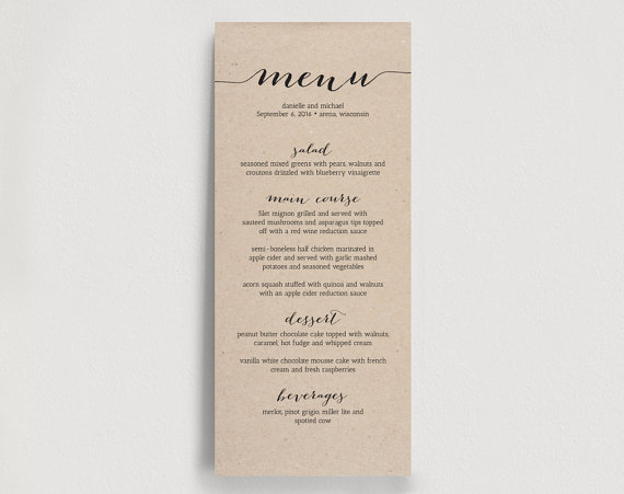 Lovely Printable Wedding Menu Template   Dinner Menu Printable   Rustic DIY PDF  Instant Download   Kraft