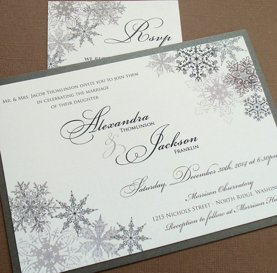 Lacy Snowflake Winter Wedding Invitations December January Weddings Landscape Invitation Silver Metallics Sample Or Deposit