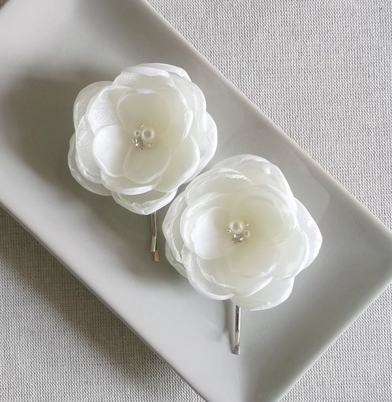 Ivory off white fabric flower bridal hair piece bobby pin hair ivory off white fabric flower bridal hair piece bobby pin hair alligator clip dress sash ornament weddings accessory bridesmaids crystals mightylinksfo