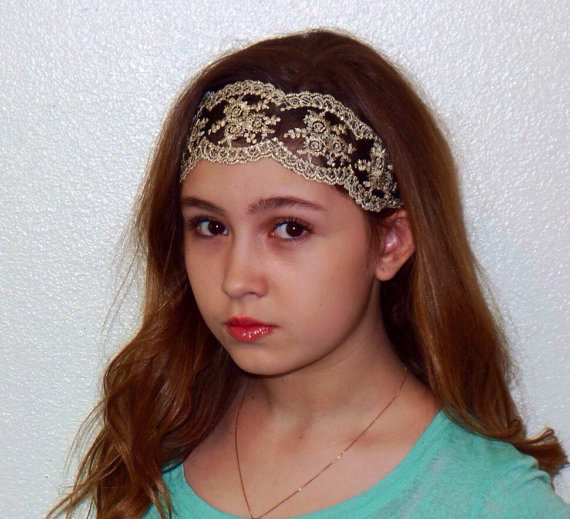Boho Vintage Lace Headband With Bling  5a2d8633204