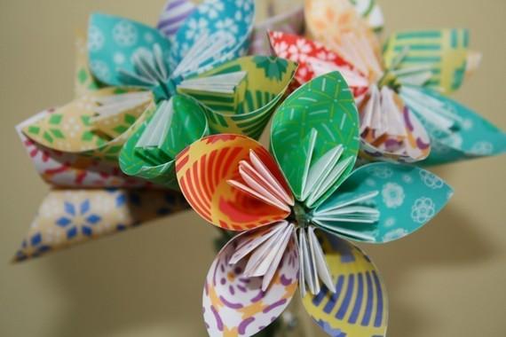 زفاف - Festively Funky Origami (kusudama) flowers (bouquet of 12)