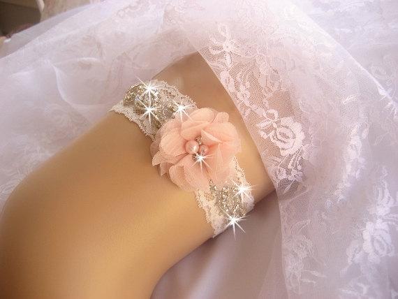Hochzeit - Prom Garter / Blush Garter / Crystal Garter / Toss Garter / Garter Belt / Garder / Ivory Garter / lace garter