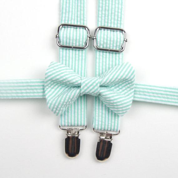 Mariage - Mint Seersucker Bow Tie & Suspenders, mint stripe bow tie, mint bowtie, mint suspenders, seafoam suspenders, ring bearer outfit, Grayed Jade