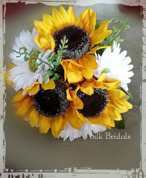 Wedding - RESERVED for juliebee607 Silk sunflower gerber daisy Wrist CORSAGE boutonniere bridal bouquet wedding flowers 22 pc