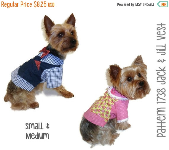 Свадьба - ON SALE Jack and Jill Dog Vest Pattern 1738 * Small & Medium * Dog Clothes Sewing Pattern * Dog Vest Pattern * Dog Shirt Pattern * Dog Suit