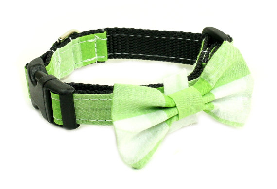 Свадьба - Wedding Dog Collar or Martingale with Bow Tie - Checkered Green and White