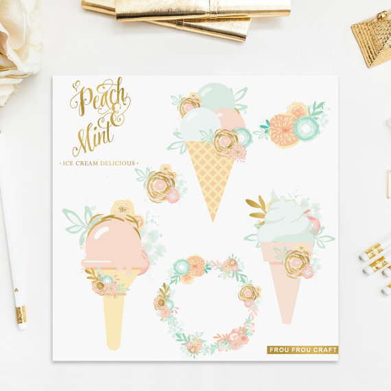 زفاف - Ice Cream ClipArt Intant Download Peach Mint Blue Pink Bluch Gold Foil Digital Flowers Wreath Baby Invitation Wedding Invitation DIY Pack