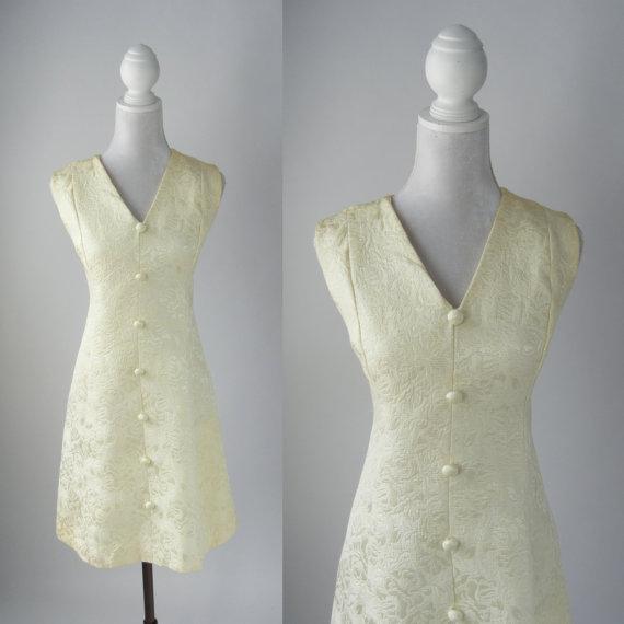 زفاف - Vintage Dress, Vintage Cream Dress, Retro 60s Dress, Off White 1960 Dress, 1960s Mod Dress, Sleeveless Vintage Dress, Short Wedding Dress