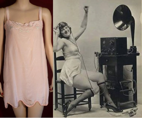 Свадьба - Large, Pink Envelope Chemise, 1920s Vintage Lingerie, Pink Silk Georgette, Flapper, Full Slip, Flapper, Gatsby, Bridal, 40, L