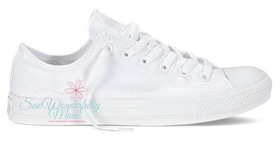 6e637c76e94e Monogrammed White Converse - Monochrome All White Low Top Converse - White  Converse - Monogrammed Wedding Day Converse - Monogrammed Shoes