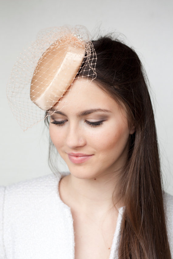 Mariage - Bridal Millinery Hat with Birdcage, Peach Pink Veil, Bridal Millinery Satin Hat