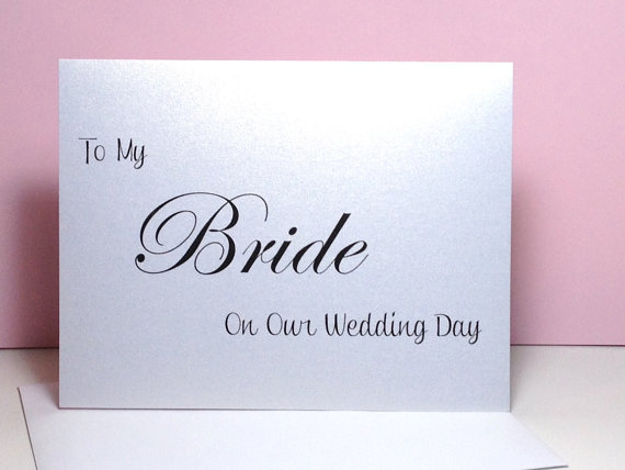 Boda - To My Bride on My Wedding Day Card, Bride Card, Wedding Card, Handmade Bride Groom Wedding Day Card, Wedding Thank You