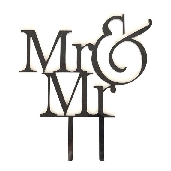 Свадьба - MR and MR Acrylic Wedding Cake Topper, Groom & Groom Cake Topper, LGBT Gay Cake Topper, Laser Cut, Silhouette, Monogram