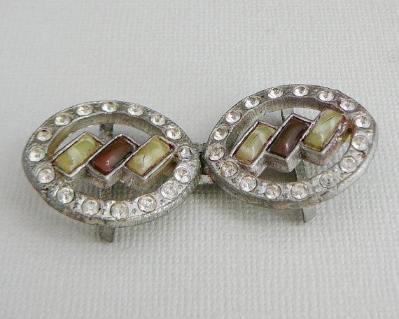 Mariage - Vintage ..Rhinestone Buckle, Clear, Pot Metal Signed Silver Tone, Ice, Wedding, Bridal