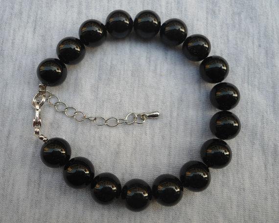 Mariage - Black Pearl Bracelet,Glass Pearl  Bracelet, Wedding Jewelry, Black  Jewelry,Bridesmaid Bracelet,