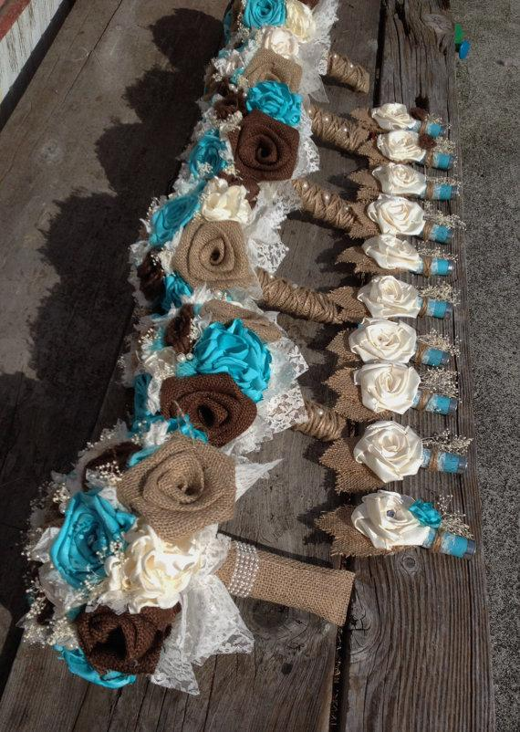 Handmade Bridal Bouquets With Natural And Chocolate Brown Burlap And