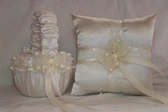 Свадьба - Ivory Cream Satin With Ivory Cream  Ribbon Trim Flower Girl Basket And Ring Bearer Pillow Set 2