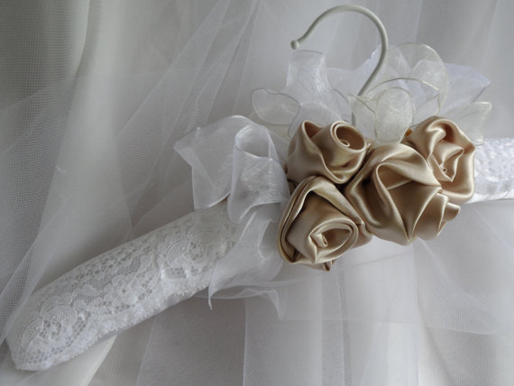 Bridal padded hanger wedding gown hanger taupe fabric for Wedding dress hanger amazon
