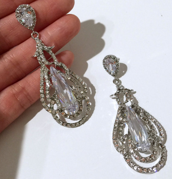 Mariage - Cubic Zirconia Teardrop Bridal Earrings, Statement Cz Jewelry, Swarovski Crystal Earrings, OSCAR