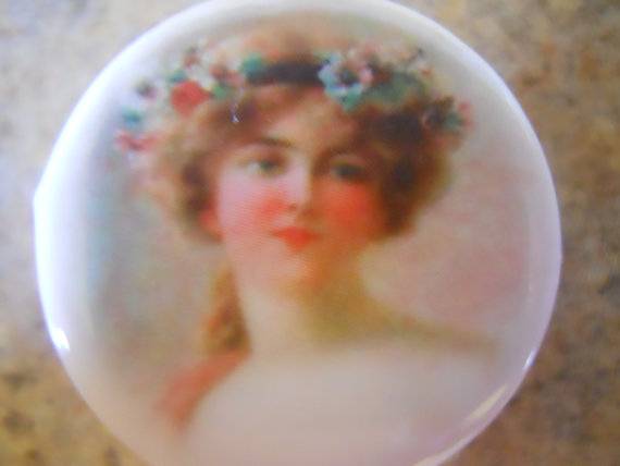 Mariage - Birchcroft china button featuring Victorian Woman with flowers~ 1 1/8 inch