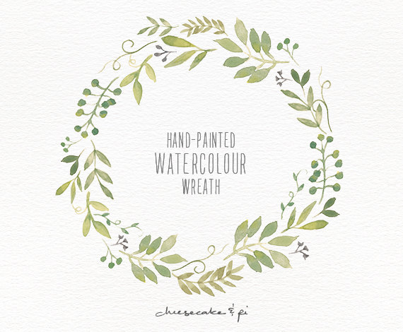 زفاف - Watercolor wreath: 1 PNG floral clip art / Wedding invitation clip art / commercial use / Greenery branches and leaves / CM0063j