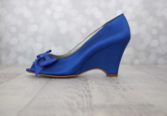 Wedding - Wedding Shoes -- Royal Blue Wedge Wedding Shoes with Off Center Matching Bow on the Toe