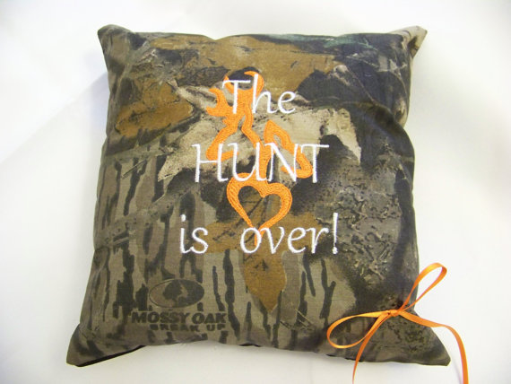 Mossy Oak Ring Bearer Pillow The Hunt Is Over Wedding Or Home Decor